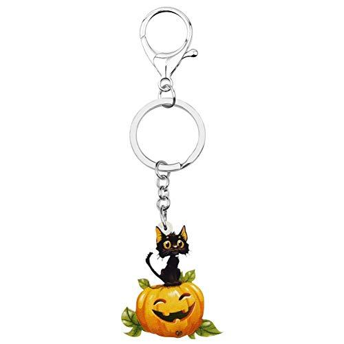 GPZEDCDB Schlüsselanhänger Schlüsselring Acryl Halloween Kürbis Laterne Katze Schlüsselanhänger Drucken Pet Tier Schlüsselring Für Frauen Kid Mädchen Lustige Geschenk Auto Tasche