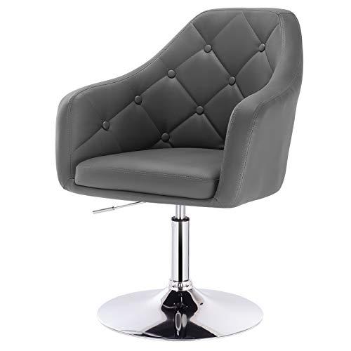 eSituro SBST0293 1 x Bar Sessel Barhocker Loungesessel Relaxsessel, höhenverstellbar & 360° drehbar, mit gepolsterter Rückenlehne, aus hochwertigem Kunstleder, Grau