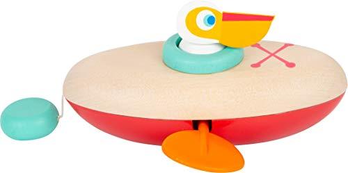 small foot 11654 Wasserspielzeug Aufzieh-Kanu Pelikan aus Holz, Aufziehspielzeug fürs Wasser, für Kinder ab 24 Monaten Spielzeug
