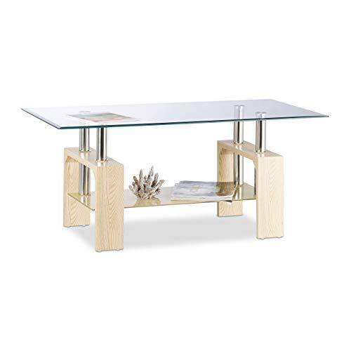 Relaxdays Transparent/Beige Basse Dessus Table Verre Trempé Pieds Bois MDF Élégants Design Moderne 43x100x50cm, HLP 43 x 99,5 x 50 cm