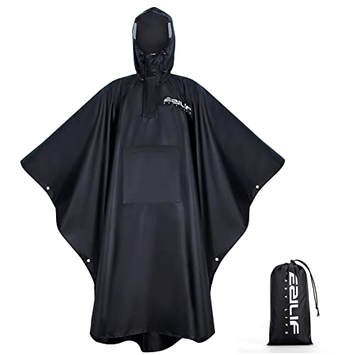EZILIF Regenponcho 210T Oxford-Stoff Wasserdicht Outdoor Regencape Herren & Damen Regen Poncho mit Wasserdichten Taschen und Reflektierender Streifen zum Camping Wandern