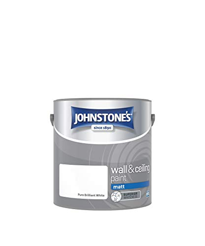 Johnstone's 303967 - Wall and Ceiling Paint Matt - Interior Paint - Contemporary Finish - Suitable for Interior Walls and Ceilings - Brilliant White - 2.5 L