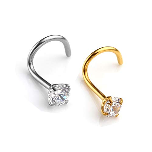 Jovivi 2pc 20G Curved Nose Studs Stainless Steel Nose Rings Cubic Zirconia Piercing Body Jewelry,Silver Gold