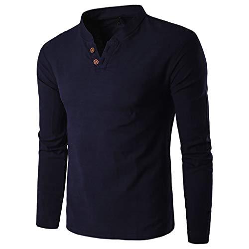 Chemise Homme,FNKDOR Hommes Automne Hiver T-Shirt Décontractée Épissage Henri Bouton Manche Longue Haut Chemisier Blouse Tops(Marine,3XL)