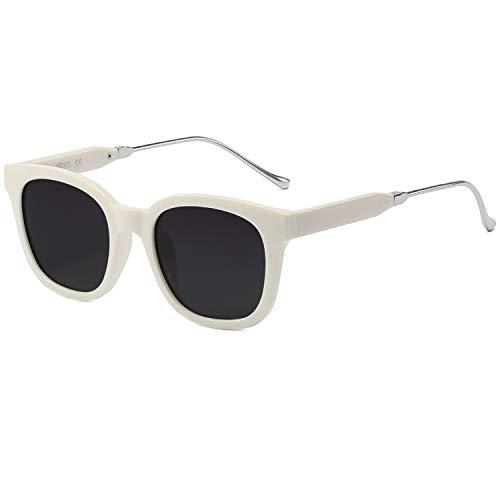 SOJOS Fashion Rechteckig Polarisierte Sonnenbrille Damen Herren Übergroß in Mode SJ2050 mit Beige Rahmen/Grau Linse