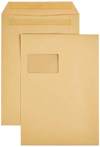 AmazonBasics - Versandtasche mit Fenster, C4 (229x324 mm), Selbstklebung, Braun, 90 g/m², 250 Stück