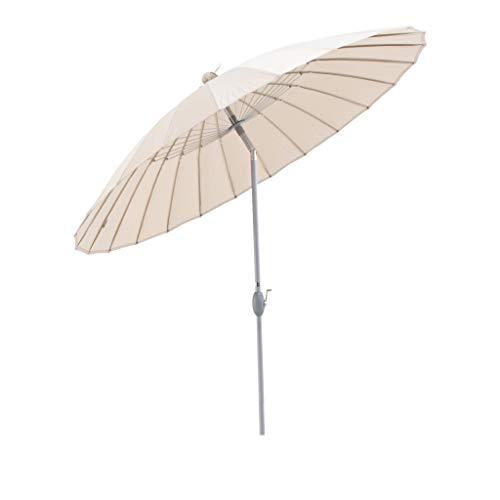 SORARA Parasol de Jardin Exterieur | Beige | Ø 260 cm | Rond | Commande à Manivelle (Pied excl.)