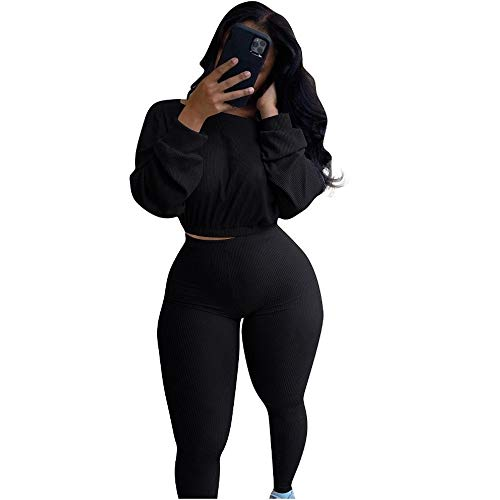 Women's Fall Rib Knit 2 Piece Sweatsuit Outfits Long Sleeve Cropped Sweater Top and Skinny Pants Set Tracksuit Black L