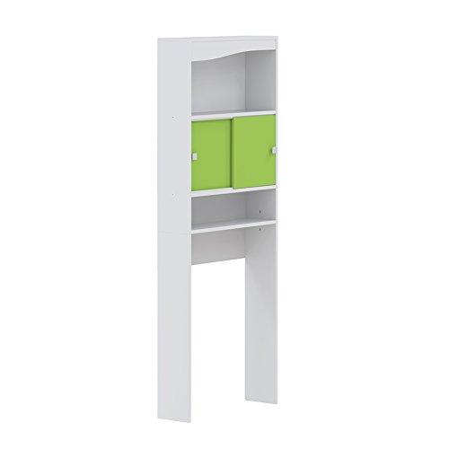 Meuble WC-Machine à laver-Corps blanc-façade pomme verte/6090A2137A17