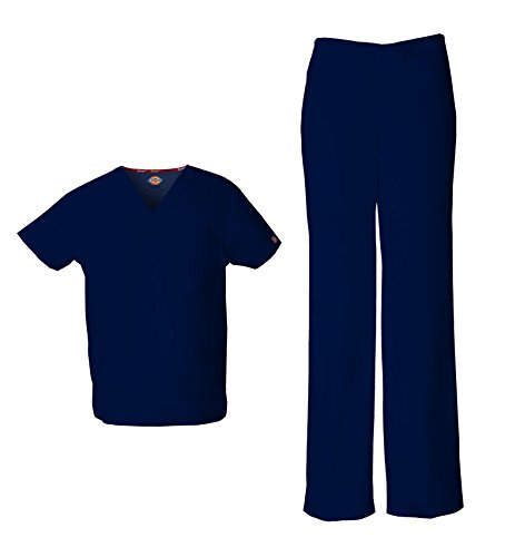 Dickies EDS Signature Unisex Scrub Set (Medium, Navy)