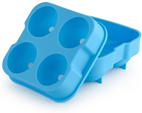 HEMFV Tragbare Eismaschine EIS-Würfel-Behälter-Silikon-Combo-Form -Sphere Ice Ball Maker mit Deckel und großem quadratischen Moulds, wiederverwendbaren und BPA-frei (Color : Blue)