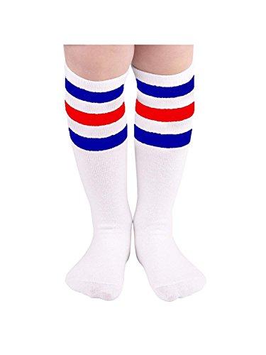 Durio Knee High Socks for Girls Knee Socks Knee High Striped Socks Tube Socks Kids Knee High Tube Socks White with Blue and Red Srtipes