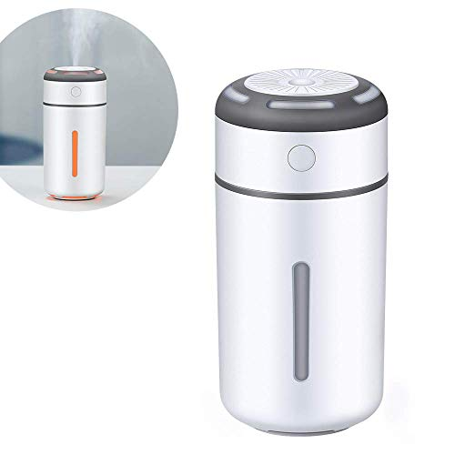 XJ0526 Mini Humidifier,Air Atomizer,Polymer Water Mist+Mute+Warm Light Night Light,Prevent Dry Burning Protection,Best for Small Guest Room,Car,230Ml,White