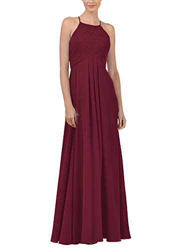 Alicepub Chiffon Burgundy Bridesmaid Dresses Long Formal Party Dress for Women Prom Evening Halter, US4