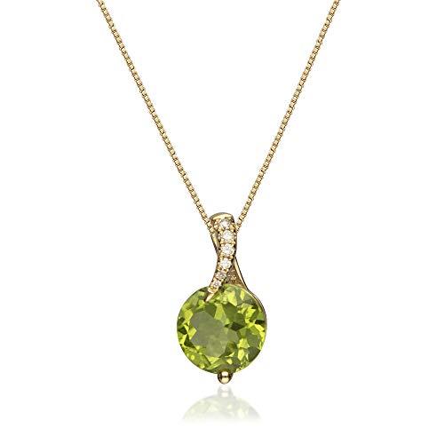 Gin & Grace 14 k oro amarillo genuino diamante peridoto (SI1) colgante para las mujeres