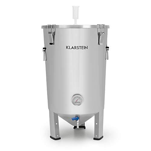 Klarstein Gaerkeller - Tanque de maceración y caldera de fermentación, 30 litros, Acero inoxidable 304, Termómetro hasta 40 °C, Tapa con 4 ganchos de seguridad, Espiral refrigeración, Plateado