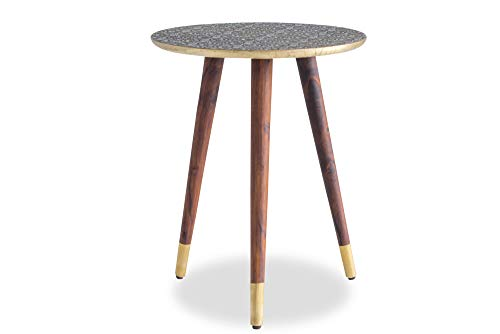 Edloe Finch Side End Table Solid Wood Legs with Brass Top Gold