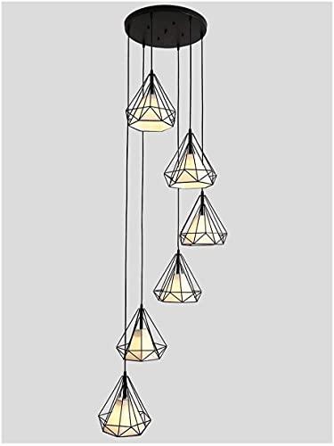 xxw Lámpara de techo LED con 6 luces, lámpara larga para salón, escalera giratoria