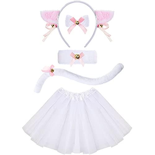 Costume de chat blanc pour enfants comprenant un bandeau, un col à nœud papillon, une queue blanche, un bracelet, une jupe tutu blanche pour Halloween, une fête costumée
