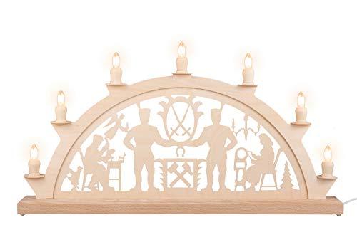 Nestler-Seiffen Schwibbogen Schwarzenberger Erzgebirge mit 7 Kerzen, 60 cm, Original Seiffen Lichterbogen