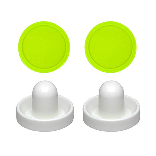 2 Commercial Hockey Fluorescent White Goalies with 2 Large Green Air Pucks