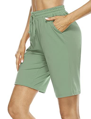 Womens Lounge Shorts Knee Length,Mother Beath Knee Length Club Moisture Wicking Stretch Swimming Bermuda High Waist Elastic Thin Soft Riding Green Medium