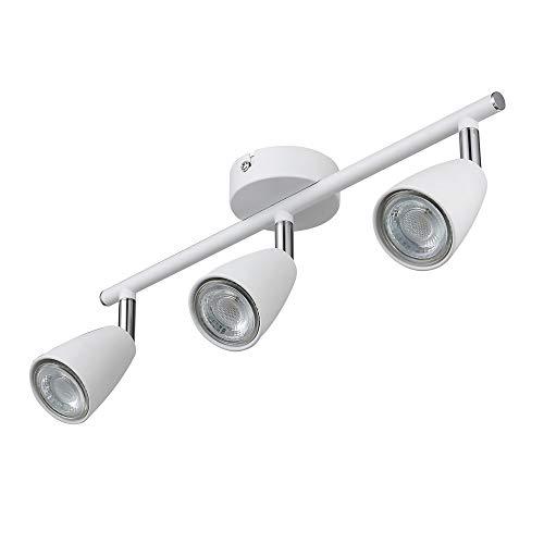 IMPTS Lámpara LED de techo con 3 focos (incluye 3 bombillas LED GU10 de 3 W, 250 lm, 230 V, IP20, luz blanca cálida, giratoria)