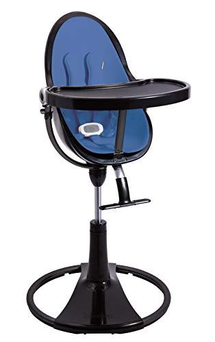 BLOOM Fresco Loft Chrome Noir Chaise haute avec kit de démarrage (coussin) Riviera Blue