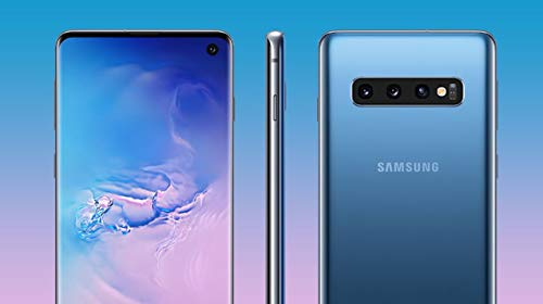"Samsung Galaxy S10+ Plus 128GB+8GB RAM SM-G975F/DS Dual Sim 6.4"" LTE Factory Unlocked Smartphone International Model, No Warranty (Prism Black) Front Side Thin"