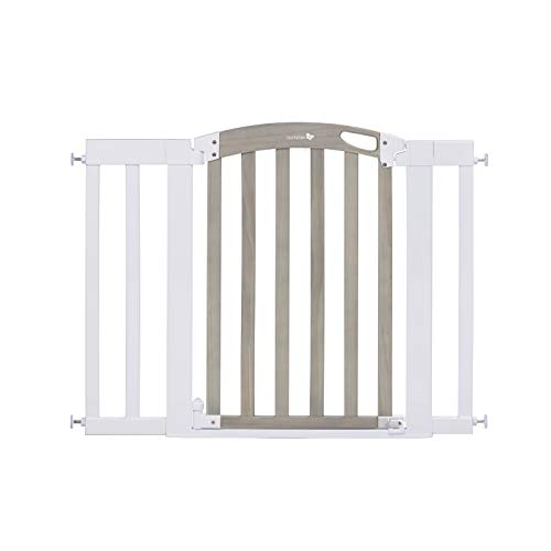 """Summer Chatham Post Safety Baby Gate Gray Wood Wash Finish and Matte White Metal Frame – 30"""" Tall Fits Openings up to 285"""" to 42"""" Wide Baby and Pet Gate for Doorways and Stairways"""
