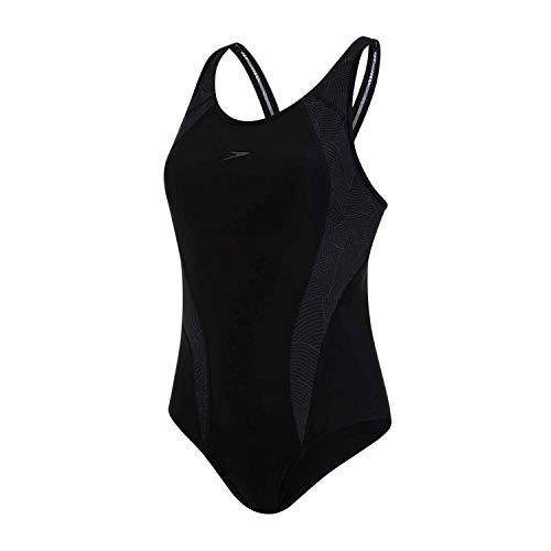 Speedo Allover Panel Laneback, Costume da Bagno Donna, Nero/Grigio (Black/Oxid Grey), 34