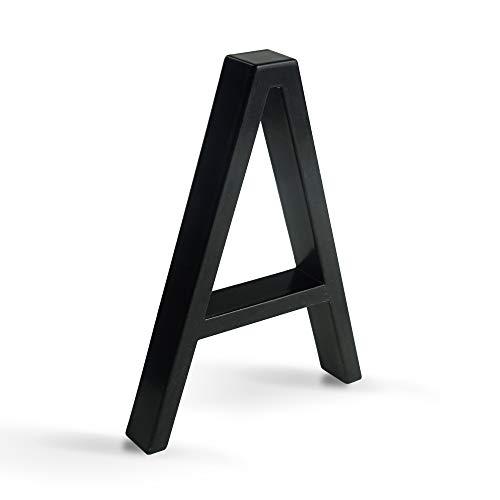 HASWARE Letrero flotante con número de casa, 5 pulgadas,(12 cm) números de puerta modernos, placa de señalización, números de dirección de casa, Metal negro [Número A]