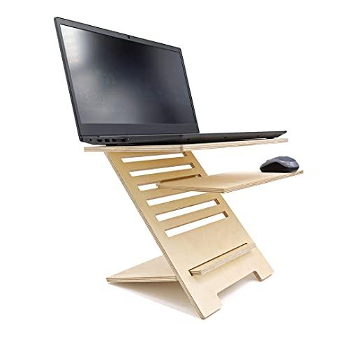 INEXTERIOR Schreibtischaufsatz für Notebook - Laptopständer aus Holz - Höhenverstellbare Laptophalterung - Made in Germany - Laptoperhöhung Laptopauflage (Natur)