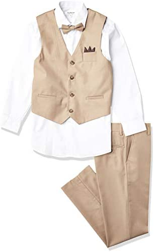 Isaac Mizrahi Boys 4 Piece Solid Vest Set Tan 10 product image
