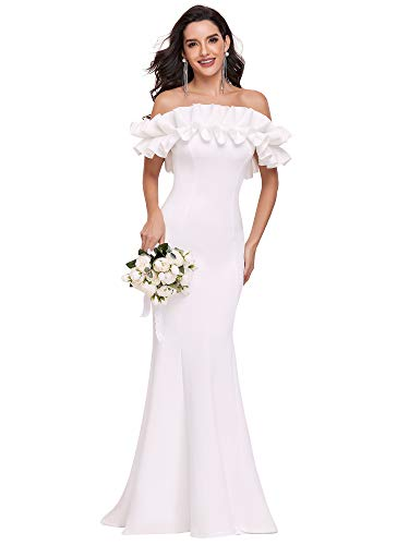 Ever-Pretty Vestido de Boda Largo para Mujer Sirena Fuera del Hombro sin...