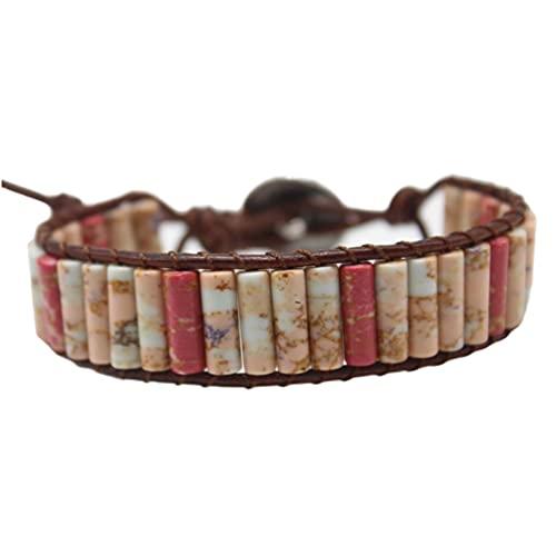 Starto 7 Chakra Bracelet with Real Gemstones Leather Boho Healing Yoga Bracelet Friendship Jewelry (Brown)