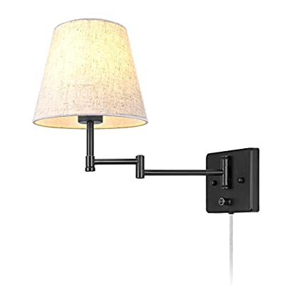 Swing Arm Wall Lamp Plug-in Cord Industrial Wall Sconce with On/Off Switch Wall Lights Fixtures 1-Light