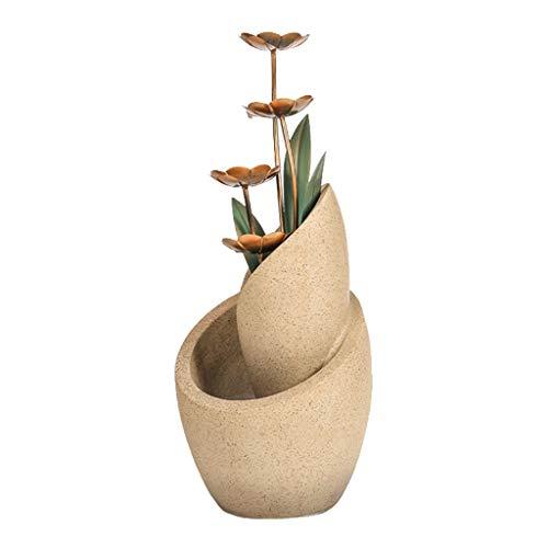 Fuentes de Interior Fuente escalonada cobre Flores decorativo moderno de interiores o exteriores de piso fuente de agua de 28,7' de alta cascada de patio jardín Patio cubierta Inicio Cascada de fuente