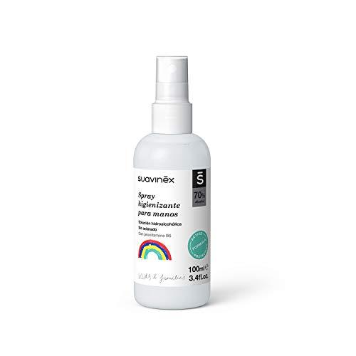 Suavinex, Spray Higienizante Para Manos Niños y Familia. Solución hidroalcohólica. 70% Alcohol. Sin aclarado, 100ml