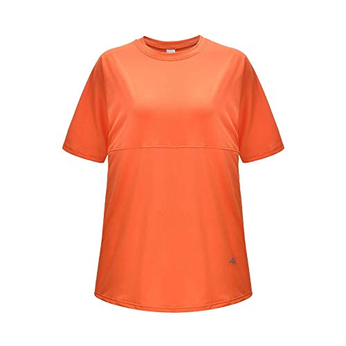 N-B Women's Plus Size Round Neck T-Shirt, Top, Short-Sleeved Running Sports Fitness Clothing, Moisture Wicking Loose Yoga Clothing 2 Packs