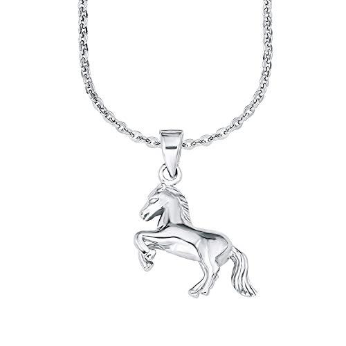 amor Kette mit Anhänger für Mädchen 35+3 cm längenverstellbar mit Anhänger Pferd 925 Sterling Silber