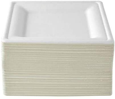 Takeaway Plates - Reusable Square Party Plates [26cm, 50 Pack] Super Rigid Bagasse Biodegradable - Eco Friendly Alternative for Weddings, Events - 26 cm Strong Paper Plates (10 inch)