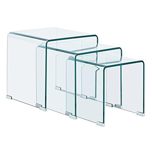 Glass, Mesa de Rincon, Mesa Nido, Mesita Auxiliar, Acabado en Cristal Templado, Medidas: 45 cm (Largo) x 45 cm (Ancho) x 45 cm (Alto)