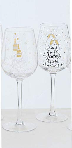 Boltze Set di 2 bicchieri da vino Cheers laccati con scritta