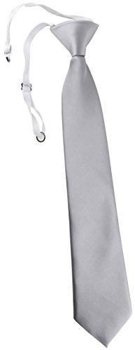 TigerTie Security Sicherheits Krawatte in silber Uni einfarbig - vorgebunden Gummizug