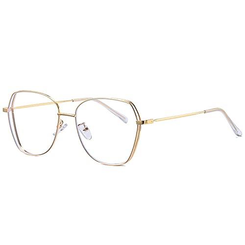 Gafas de gran tamaño poligonales de doble polo anti azul que bloquean la luz para mujeres y hombres con montura de gafas de aleación ultraligera dorada