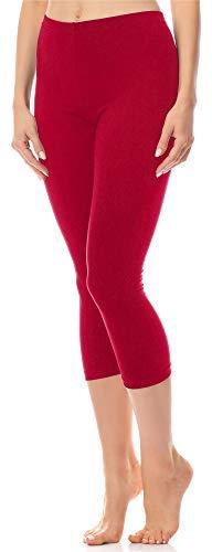 Antié Damen Leggings 3/4 aus Baumwolle AN60-101(Rot,L)