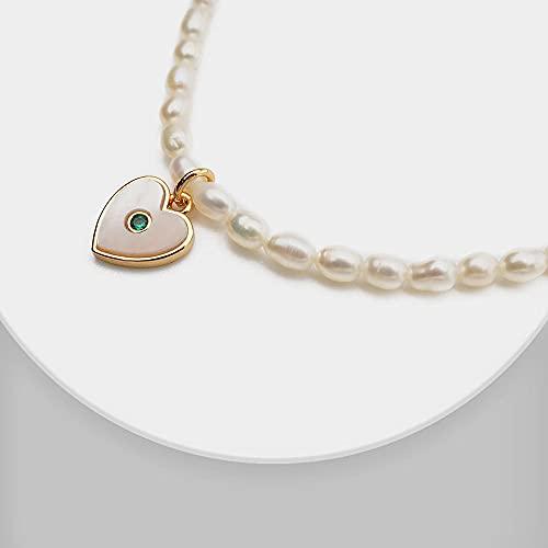WQZYY&ASDCD Collar De Mujer Collar con Colgante De Perlas-Verde