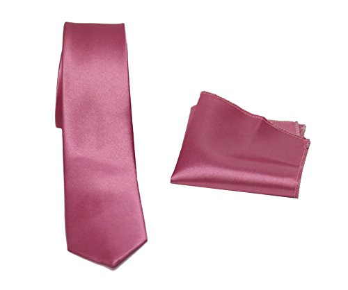 MMUGA Corbatas estrechas de aprox. 6 cm con pañuelo rosa oscuro Talla única