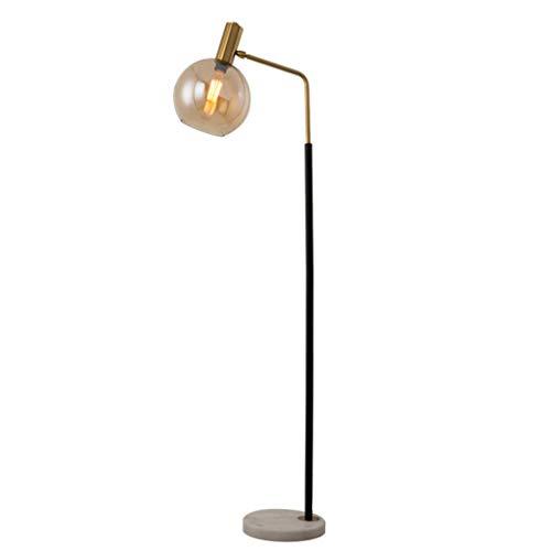Kiter Lámpara de pie Lámpara de pie LED Lámpara de Hierro Forjado Cuerpo Sala de Estar Dormitorio Estudio de cabecera Pantalla de Vidrio Ajustable Lectura Luz de Piso Salon (Color : Amber)